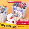 Nova chegada 24/36/48 cores escova macia marcadores caneta conjunto duplo dicas álcool baseado para desenho manga universal design arte suprimentos