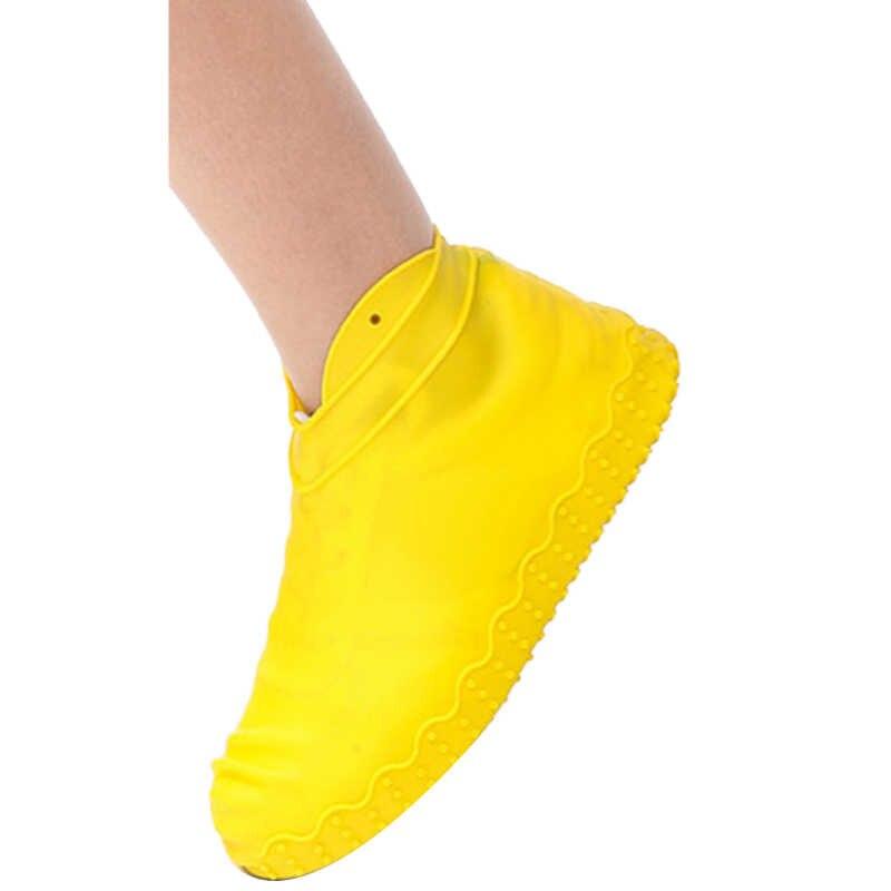 FGGS silikon açık kaymaz su geçirmez ayakkabı kapakları taşınabilir yağmur çizmeleri yağmur geçirmez ayakkabı koruyucu erkekler kadınlar gençler anti-kum ayakkabı C