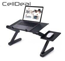Escritorio ajustable de aluminio para el ordenador, mesa ergonómica portátil perfecta para PC, portátil y televisor, bandeja de soporte ideal para la cama