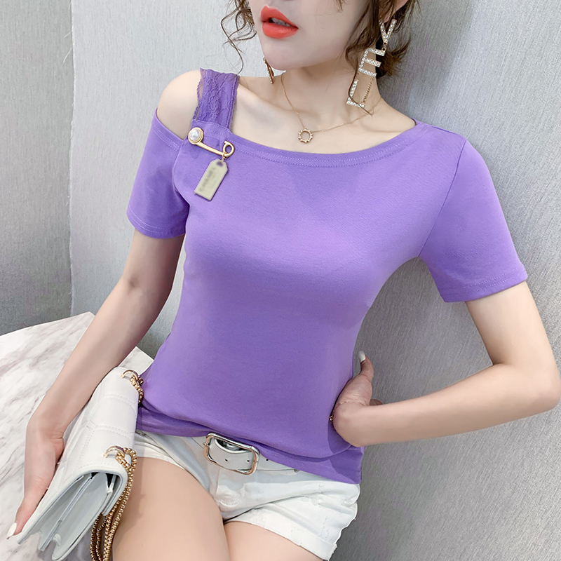 Summer European Clothes T-shirt Fashion Sexy Off Shoulder Lace Women Tops Ropa Mujer Short Sleeve Cotton Tees 2020 New T05512