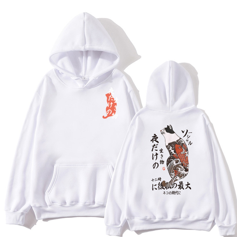 Japanese Funny Cat Wave Printed Fleece Hoodies Winter Japan Style Hip Hop Casual Sweatshirts Ghost Chinese Charater Streetwear