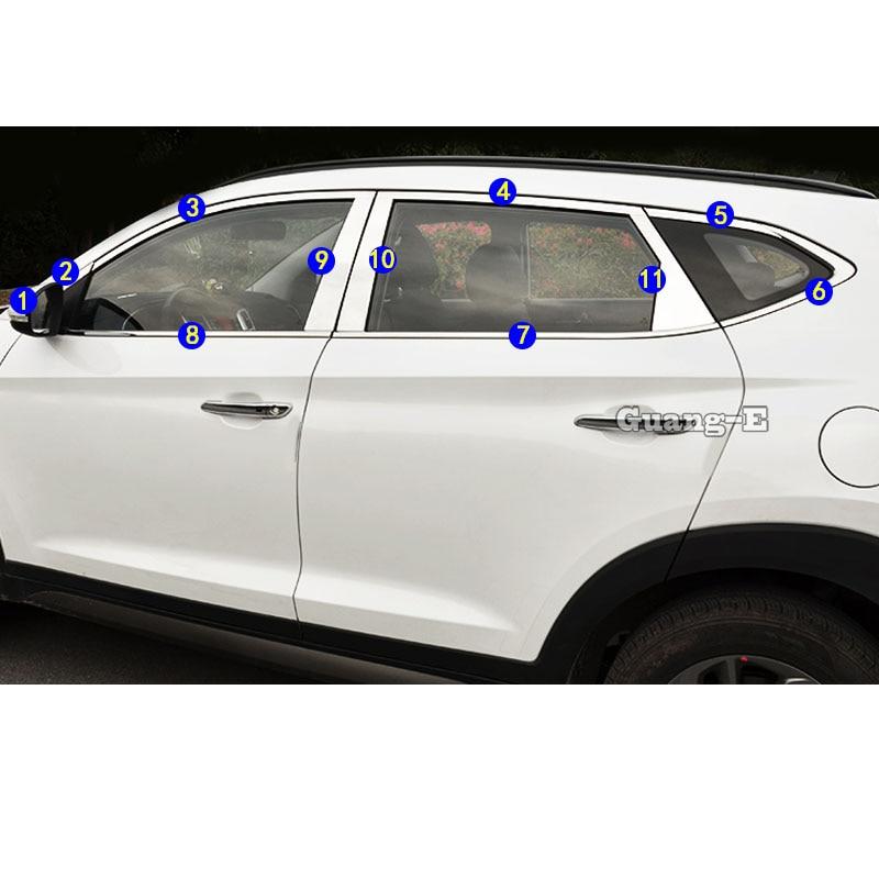 For Hyundai Tucson 2015 2016 2017 2018 Car styling sticker Garnish Pillar Window Middle Strip Trim Frame Lamp Hood Parts|Car Stickers| |  - title=