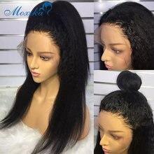 Peluca con malla frontal Yaki de 28 pulgadas cabello humano Remy 180% 13x4 nudos blanqueados peluca prearrancada Peluca de cabello malayo con cierre 4x4