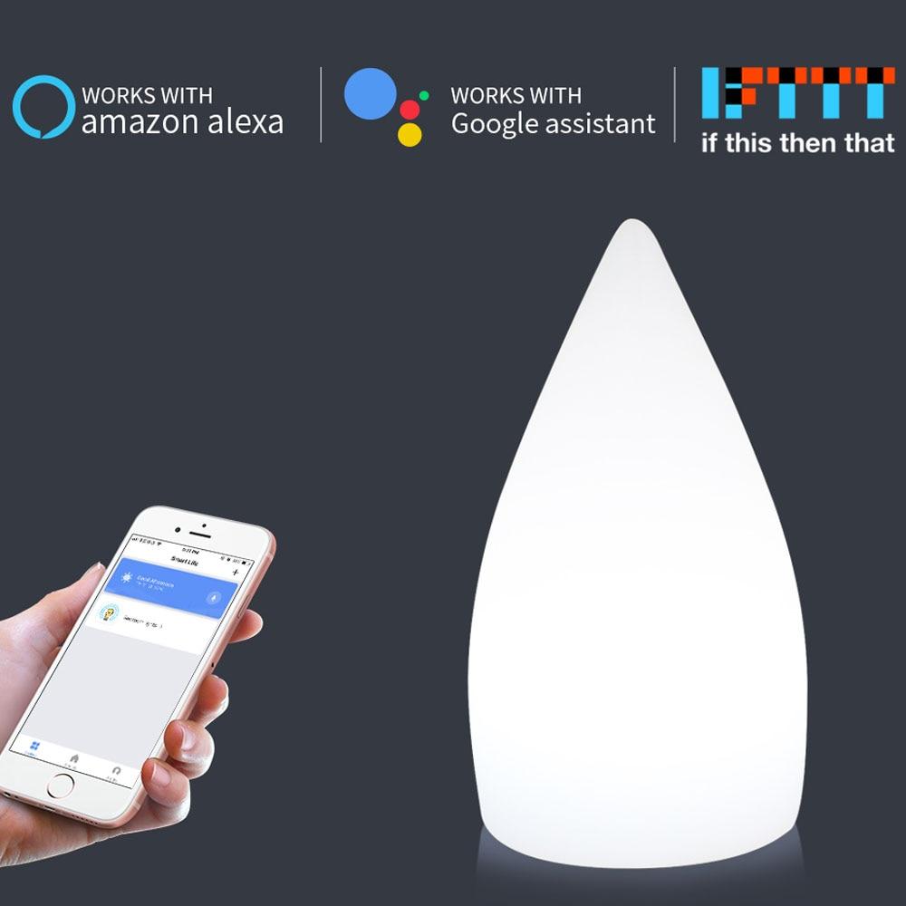 Réglage de la minuterie LED lumières Google Home IFTTT contrôle intelligent couleur Dimmable 5V gouttelettes d'eau lampe de nuit USB charge éclairage de la maison