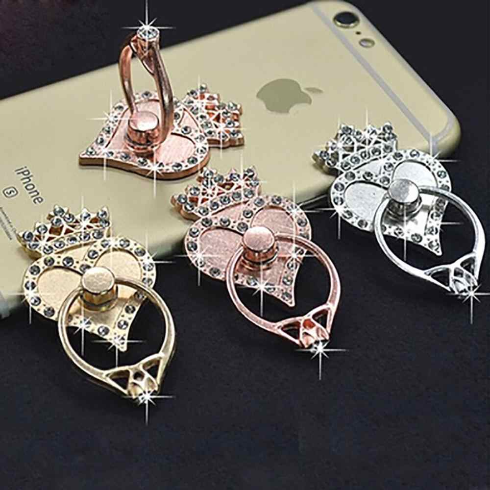 Crown peach heart ring bracket suitable for iP6 mobile phone universal lazy ring snap buckle paste flat plate bracket