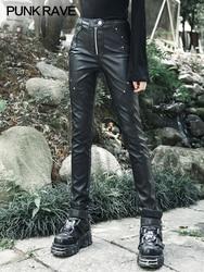 Панк рейв женские панк темно-Черные Узкие повседневные брюки панк Рок тяжелые женские леггинсы из искусственной кожи