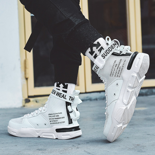 2019 New Sports Shoes Men's High Help Hip Hop Shoes White Skate Shoes Sneakers Men Loafer Shoes High Top Sneakers Calzado Hombre