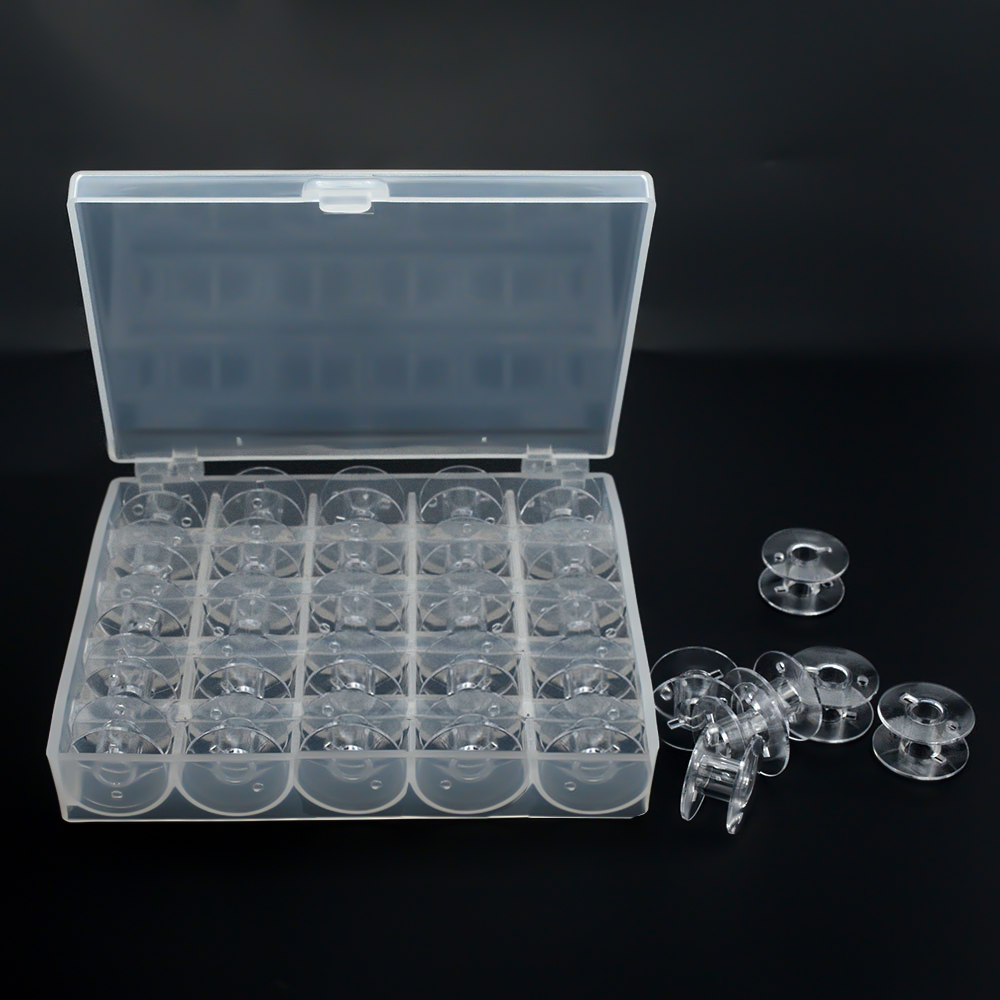 25Pcs Transparent Sewing Machine Bobbins Spools Empty Bobbins Spools Plastic Storage title=