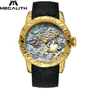 Image 4 - MEGALITH Fashion Men Watch Top Luxury Brand Gold Dragon Sculpture Watch Men Quartz Watch Waterproof Big Dial Sports Watches Man