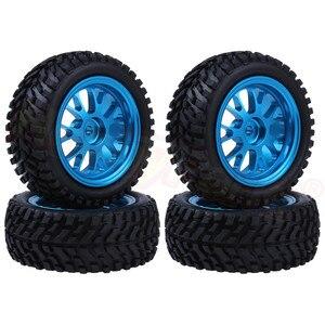 Image 1 - 4pcs 75x28mm Tires & Aluminum Wheels 7mm Hubs for WLtoys A959 A949 A969 A979 A959B A969B A979B 1/18 RC Car Spare Parts