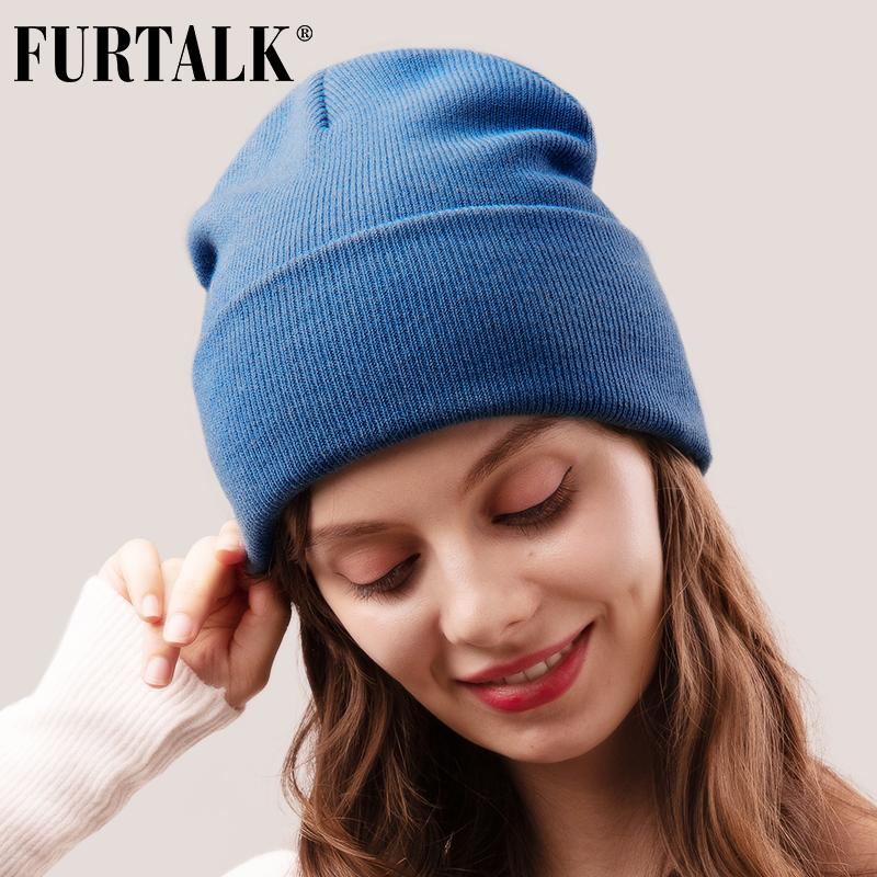 FURTALK Beanie Hat for Women Men Winter Hat Knitted Autumn Skullies Hat Unisex Ladies Warm Bonnet Cap Korean Black Red Cap
