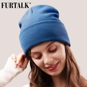 FURTALK Beanie Hat for Women Men Winter Hat Knitted Autumn Skullies Hat Unisex Ladies Warm Bonnet Cap Korean Black Red Cap(China)