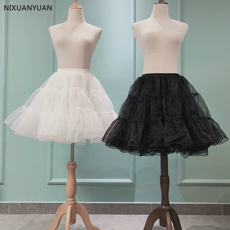 Wholesale Short Organza Halloween Petticoat Crinoline Wedding Bridal Petticoat For Wedding Dresses Underskirt Rockabilly Tutu