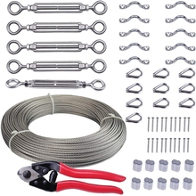 5Pcs Cable Railing Kits Set with Stainless Steel Wire Rope Cable and Cable Cutter for Wood Posts DIY Deck Stair