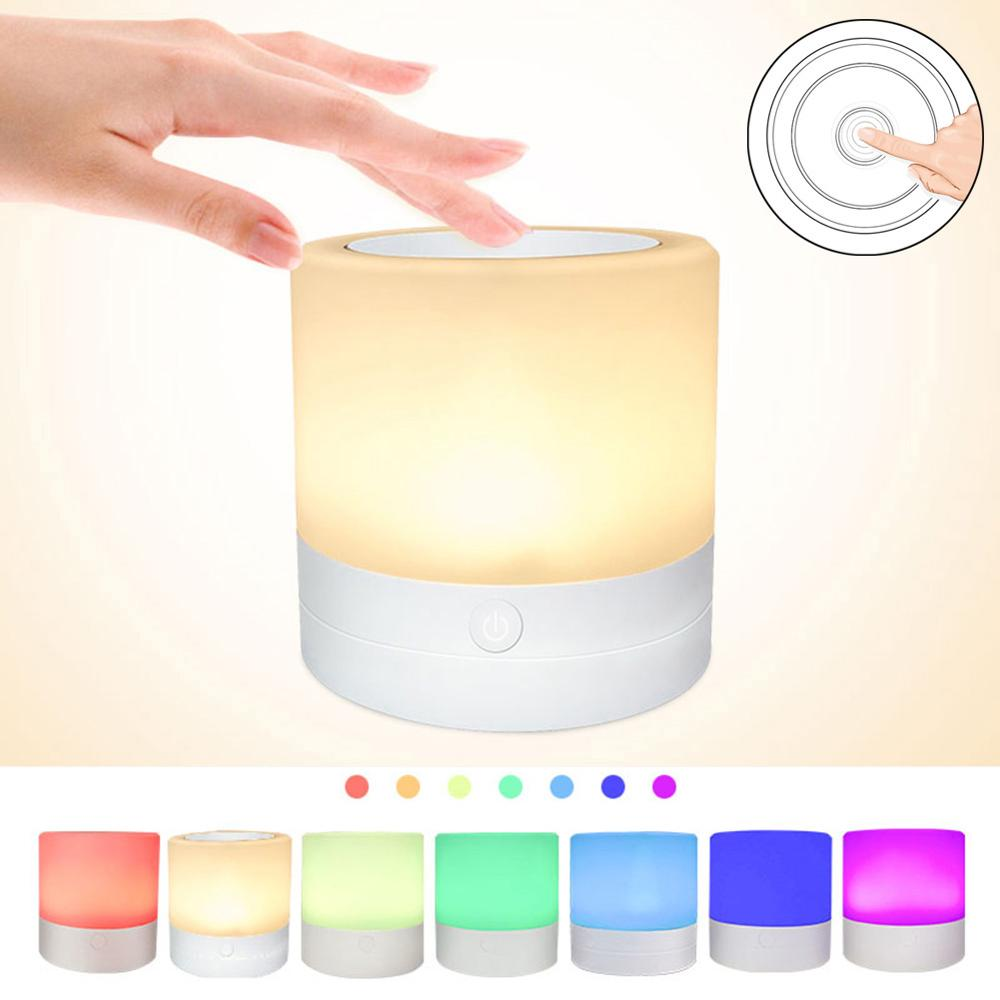 Touch Control LED Night Light Smart Bedside Lamp Smart Rechargeable RGB Color Change Induction Intensity Lamp