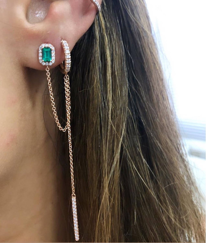 Double Piercing Silver Rose Gold Clear Green Baguette Cubic Zirconia Long Chain Tassel Earring 2020 New