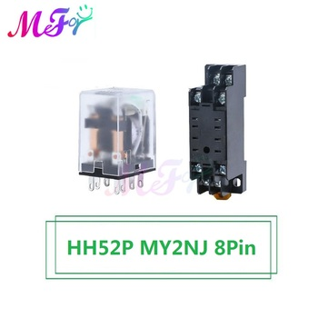 HH52P MY2NJ 8Pin Relay Coil General DPDT Micro Mini Electromagnetic Relay Switch with Socket Base LED AC 110V 220V DC 12V 24V недорого