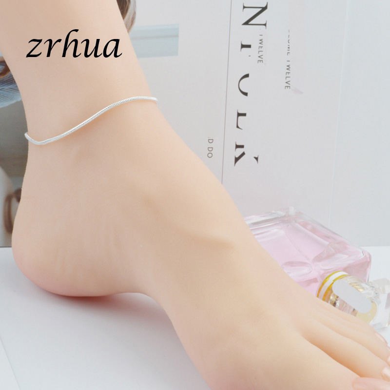 New Arrival Simple Beautiful Small Snake Chain 925 Sterling Silver Anklets Top Quality Christmas Gift For Girls Engagment Bijoux 3