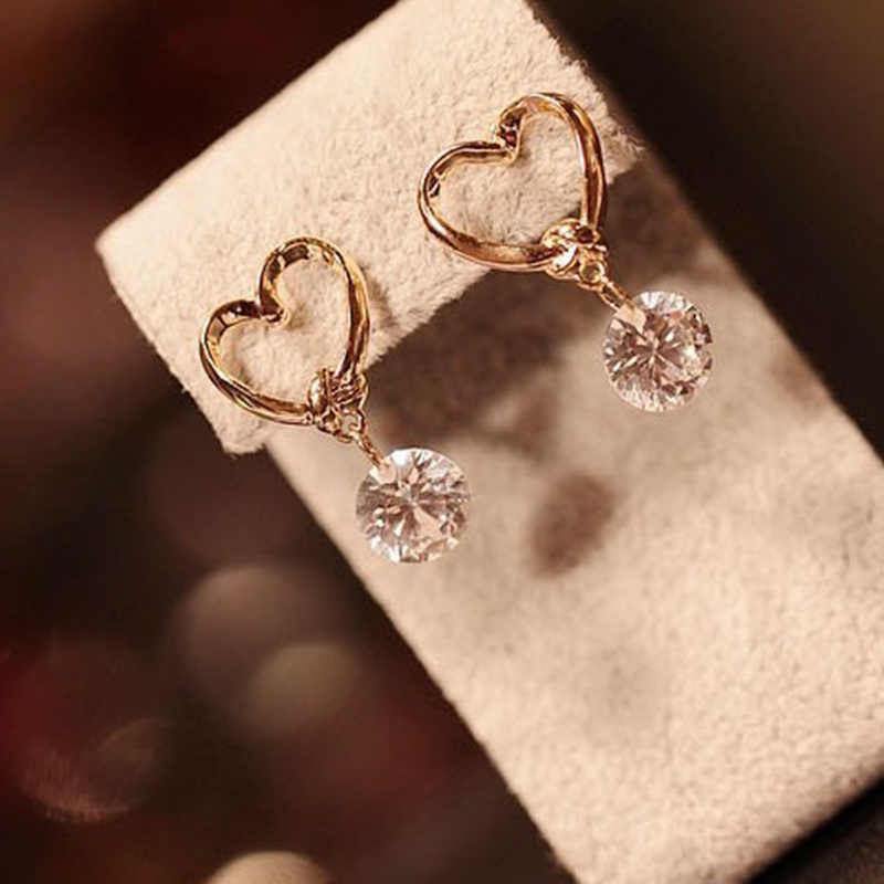New Fashion Lovely Women Lady Heart Zircon Crystal Earring Earrings Jewelry Gift For Girls   8ED193