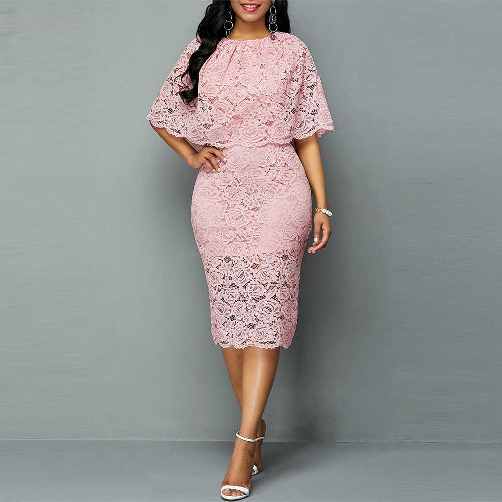 Elegante Sexy Aushöhlen Rosa Spitze Kleid Frauen Herbst Casual Plus Größe Oansatz Halbe Hülse Schlank Solide Büro Bleistift Kleid vestidos