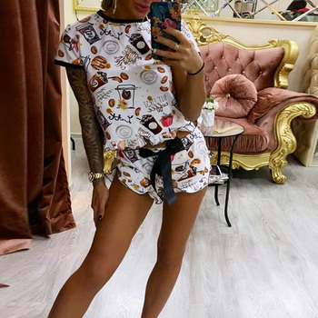 Fashion Women Tracksuit 2 Piece Set Floral Printed Casual Bow Knot Shorts and Top Set Harajuku 2 PCS Outfits Loose Tracksuit D30 knot detail floral blouse with shorts