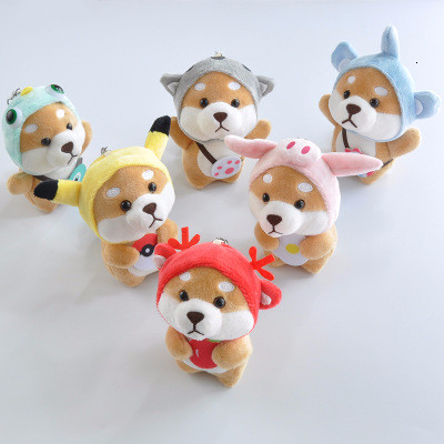 Kawaii Shiba Inu Dress Up Plush Toys Cat Stitch Pig Cosplay Soft Stuffed Doll Keychain Cartoon Animal Dog Kid Toy Birthday Gifts