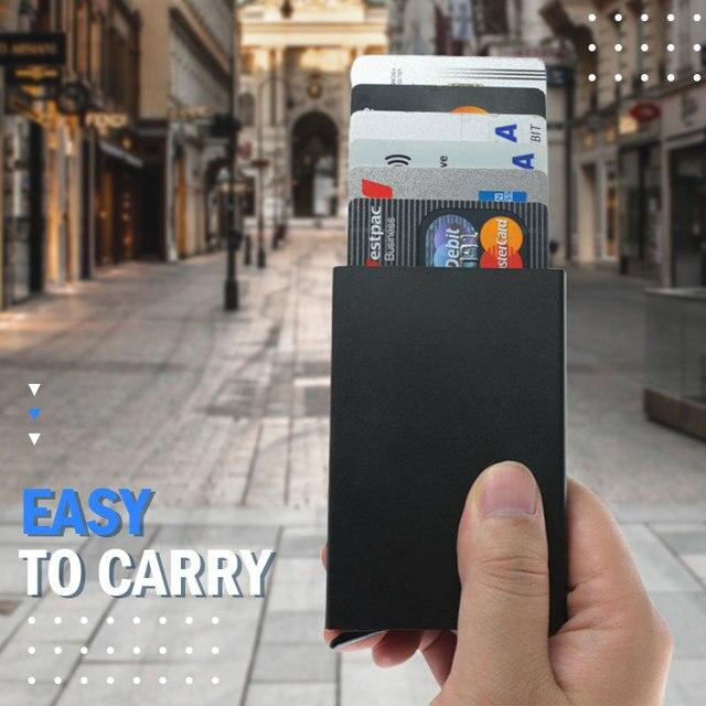 Portefeuille Pop-Up pour hommes et femmes, carte d'identité RFID, Mini paquet, sac de rangement d'équipement de protection en aluminium et métal, à dégagement rapide intelligent 3