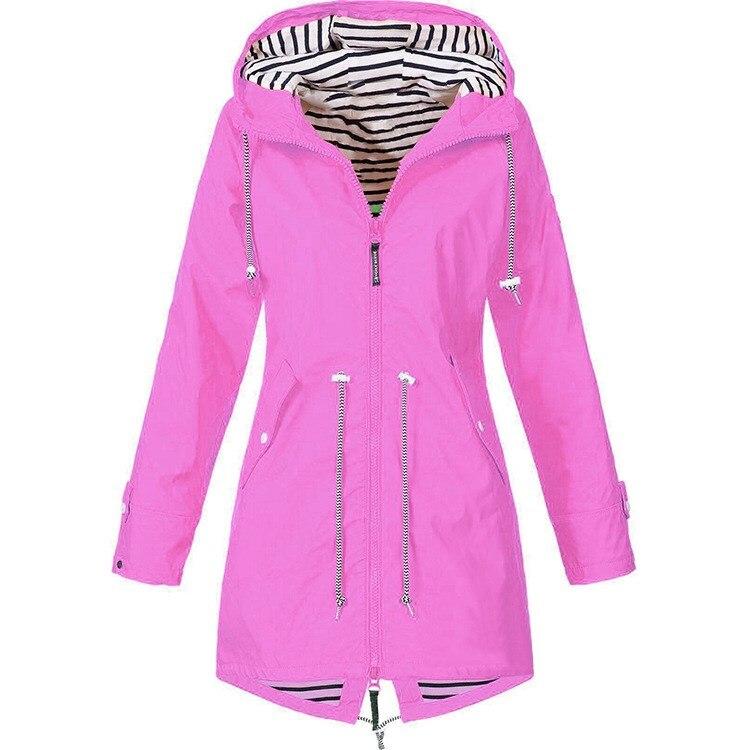 Women Windproof Hooded Jackets Womens Basic Jacket Pockets Fashion Hiking Windbreaker Outwear Female Coat