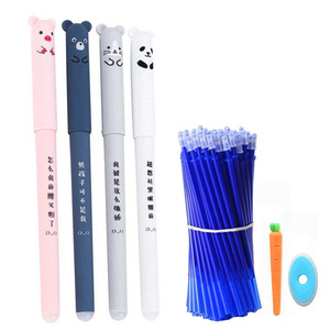 26Pcs/Lot Cute Animals Erasable Pen Refill Set Washable Handle 0.35mm Blue ink Erasable Rods Ballpoint pen for School Stationery(China)
