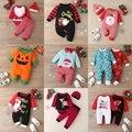 Рождественская зимняя одежда для маленьких мальчиков хлопковое боди в клетку с длинными рукавами и надписью Санта-Клауса, одежда для мален...