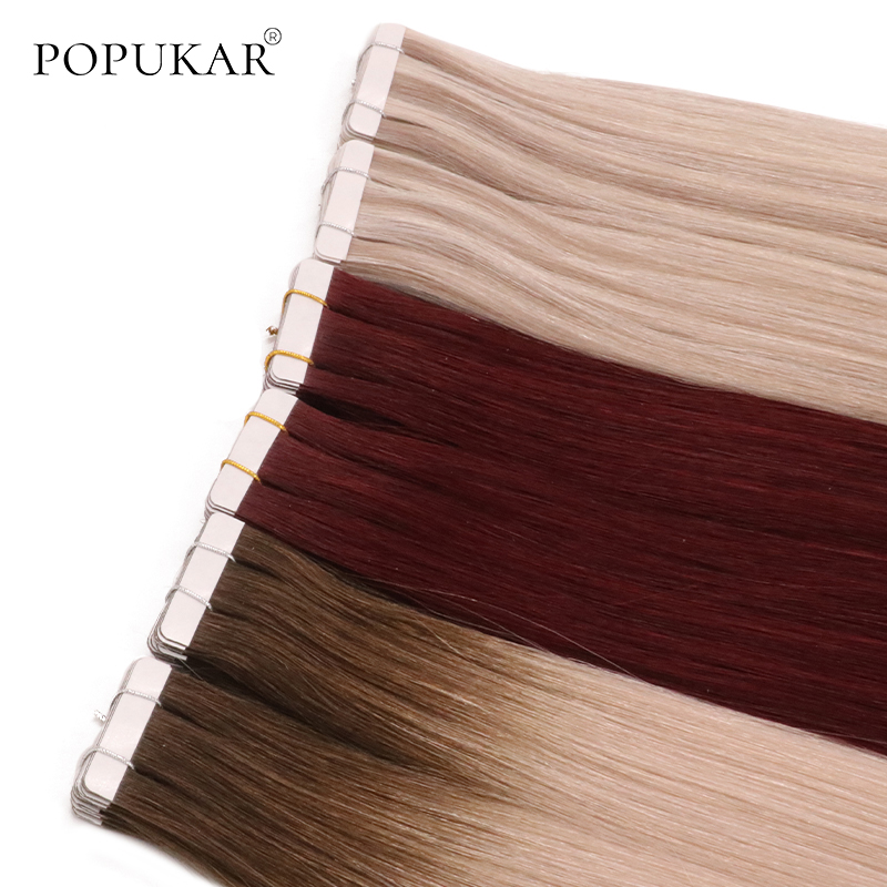 Popukar 40pcs Wholesale Brazilian Pu Invisible Tape Human Hair Extension Full Cuticle 45 Popular Colors With Salon Quality