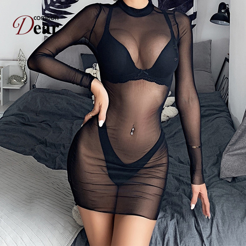 Comeondear 5XL Transparent <font><b>Baby</b></font> <font><b>Doll</b></font> <font><b>Mujer</b></font> Long Sleeve Underwear Women Plus Size Lingerie Hot <font><b>Sexy</b></font> Erotic Bodycon Dress RB80868 image