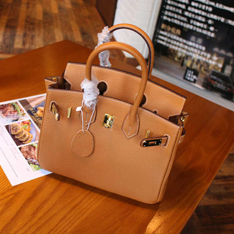 Top Quality Genuine Leather Elegant Woman Handbag with  Gold Lock 25cm 30cm 35cm also have other colors and silver Hardware