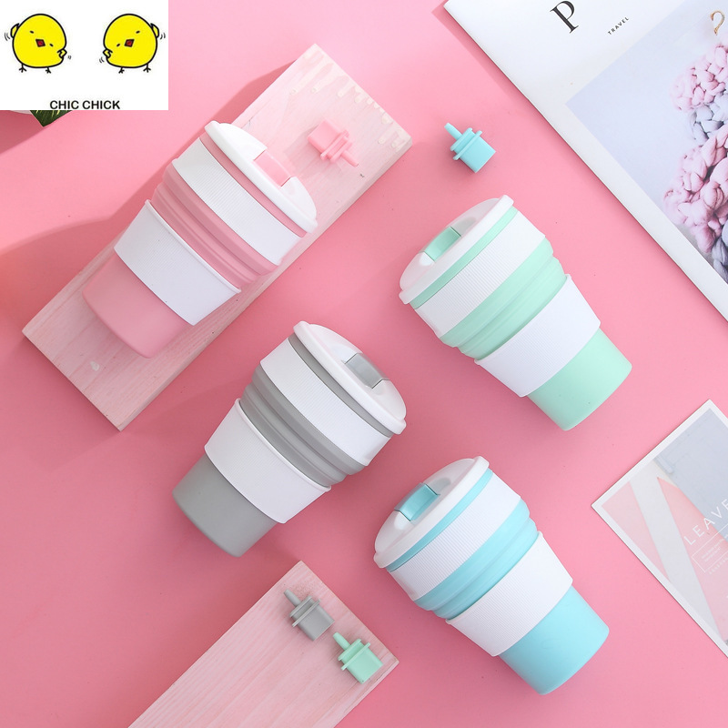 Folding Portable Silicone Kids Mug  Drinking Collapsible Coffee Cup Multi-function Foldable Silica Mug Travel Baby Drinking Cup