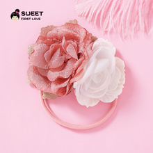 цена на New Flower Nylon Headbands Two Chiffon Flower Girls Floral Headwear Hair Bands Cute Soft Elestic Hair Accessories For Baby