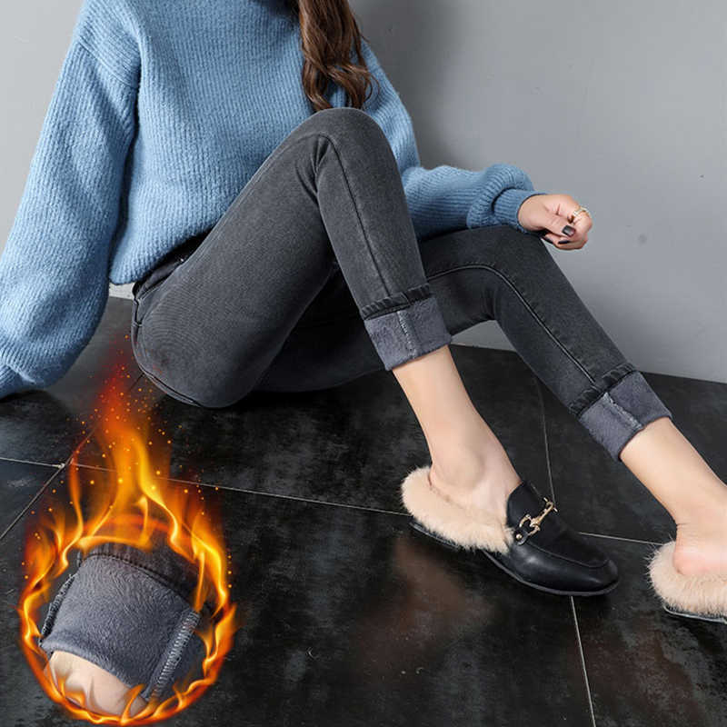 2019 Nieuwe Winter Jeans Dames Korea Hoge Taille Plus Fluwelen Skinny Jeans Cowgirl Straat Kleding Dikke Warme Winter Voeten Broek