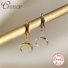 CANNER Korean Jewelry 100% 925 Sterling Silver Earrings for Women Exquisite Moon Pendant Small Stud Earring Crescent Earing Gift