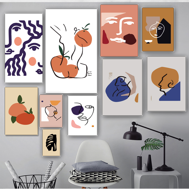 Canvas Painting Matisse Famous Posters And Prints Line Drawing Abstract Feather Wall Art Canvas Pictures Nordic Home Decoration