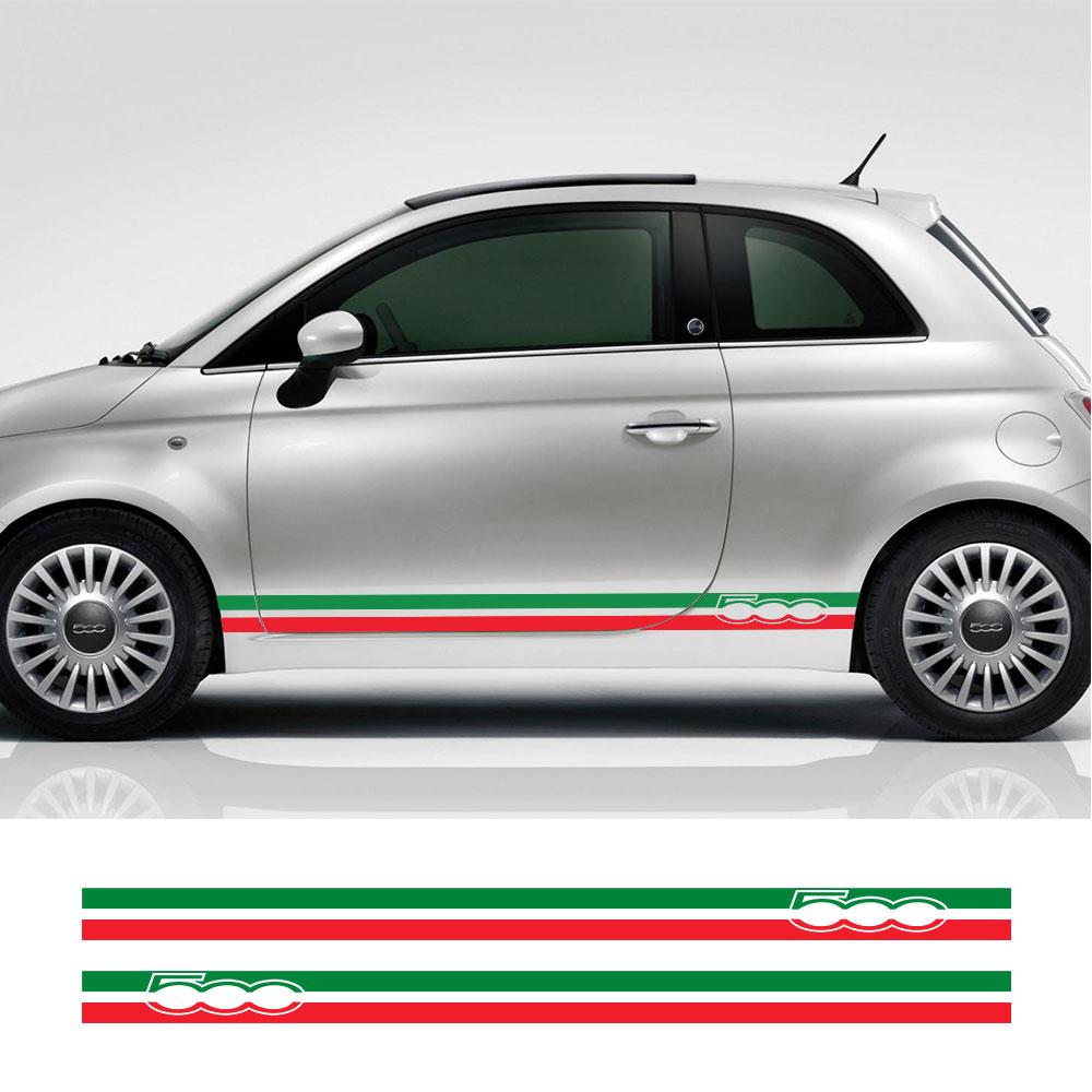 2 предмета в комплекте итальянского флага Авто винила ПВХ наклейки для Fiat 500 автомобиль Abarth двери боковые полосы юбка наклейки Графика накле...