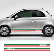 2PCS Italian Flag Auto Vinyl PVC Decals For Fiat 500 Abarth Car Door Side Stripes Skirt Decals Graphics Stickers Car Accessories