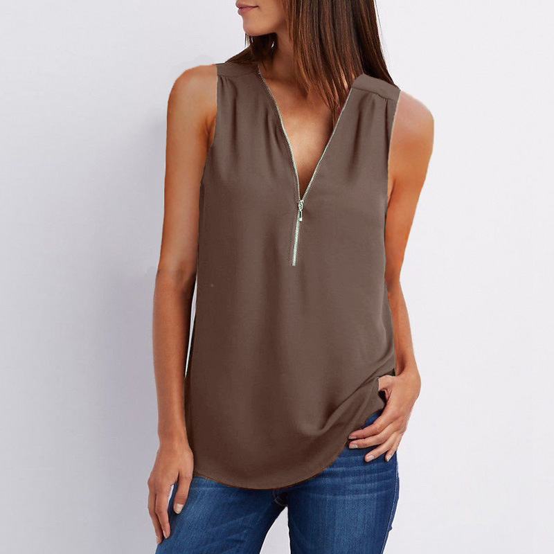Ha484bc907e66454b9a7384c0f876d929J - Female Casual Summer Top Shirt Ladies V Neck Zipper Loose Tee Tops Women's Solid Zip Up Top Vestidos Mujer Verano Blouse