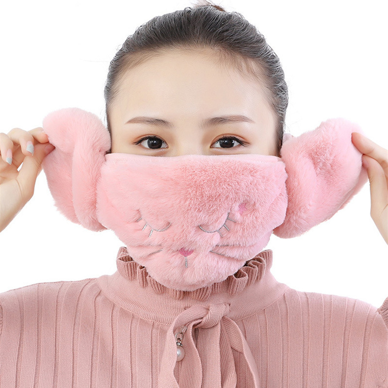 Cute Winter Mouth Mask Cat Embroidered Women Mask Cotton Plush Windproof Earmuff Anti-Dust Half Warm Face Cover For Girls