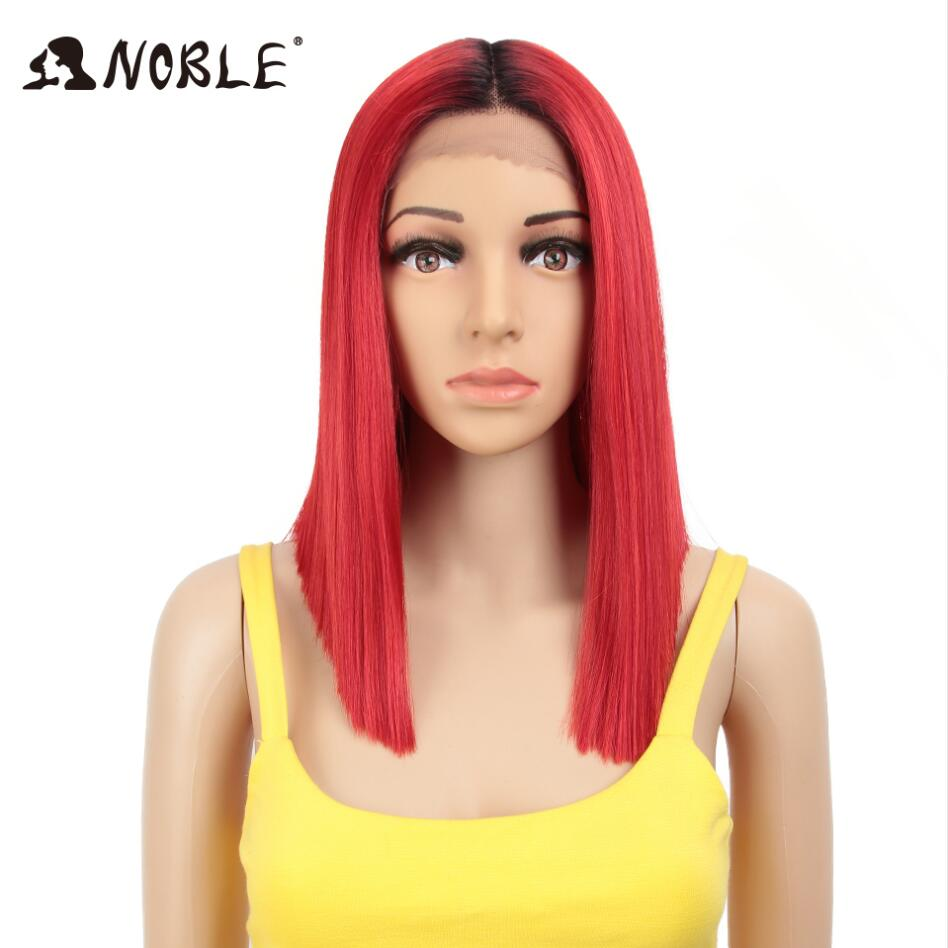 """Noble African American Synthetic Wig 14"""" Short Ombre Black Middle Part 6 Colors Straight Lace Front Synthetic Wigs For Women"""