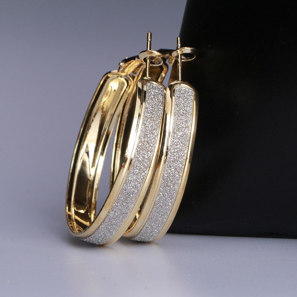 Новые матовые серьги-кольца, круглые золотые, серебряные, большие, панк, круглые, большие серьги кольца для женщин, вечерние ювелирные изделия 40 м, 50 м, 60 м - Окраска металла: Gold