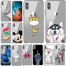 цена на Phone Case For iPhone 6 6s 7 8 Plus X XS 10 5 S SE Fashion Cartoon Transparent soft sili  For iPhone X XS MAX Case Back Cover