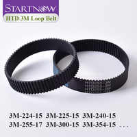 Closed Loop Timing Belt Transmission Belts HTD 3M-255-15 Perimeter 225 267 300 324 384 519mm Customized Width 8 9 10 15 17mm