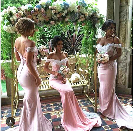 בת ים שושבינה שמלות עם כבוי כתף שרוולים תחרה אפליקציות מסיבת חתונת שמלות כתם Vestido דה festa לונגו