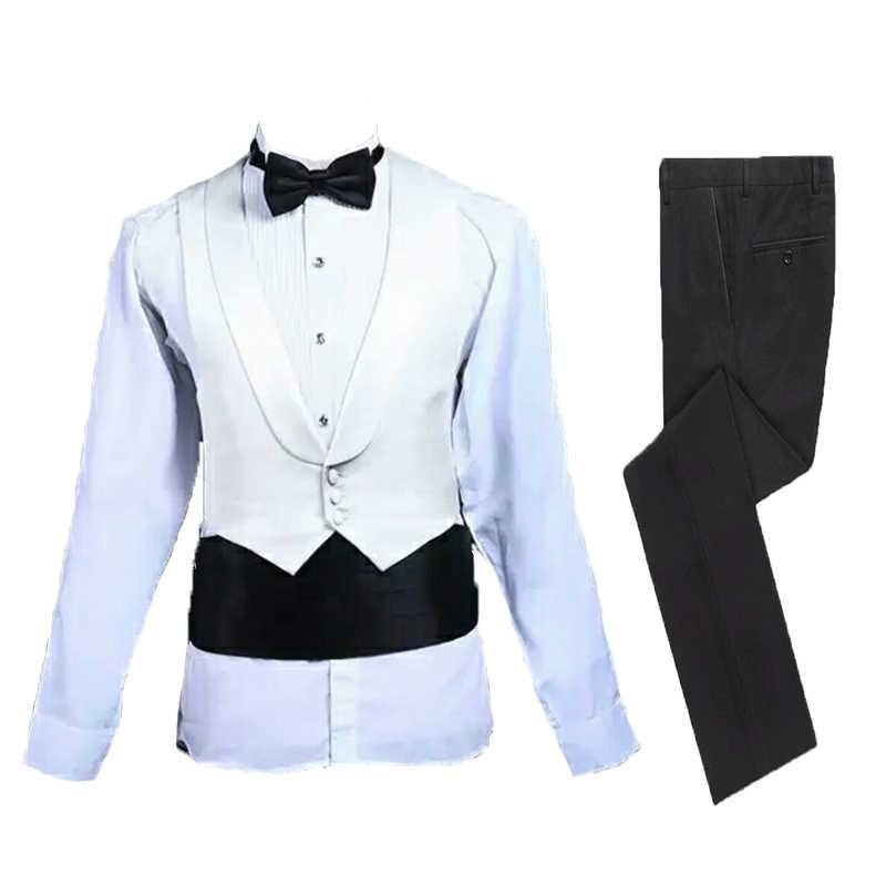 Balo kıyafetleri Mens takım elbise düğün damat giyim klasik takım elbise akşam yemeği takım uzun ceket üç adet takım elbise (ceket + pantolon + yelek)
