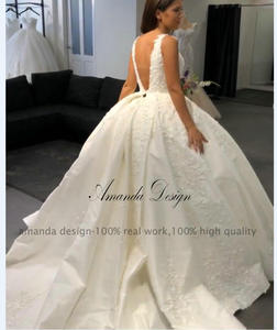 Image 5 - 아만다 디자인 로브 드 mariage 2019 캡 슬리브 레이스 appiques 오픈 다시 웨딩 드레스