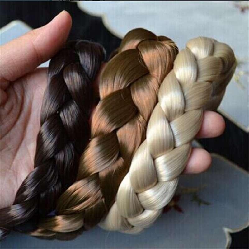 Synthetic Wig Braided Hair Band ElasticTwist Headbands Princess HairBand Headwear Women Girls Hair Accessories